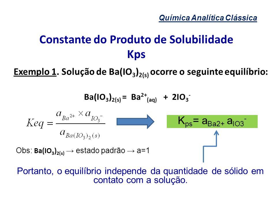 Constante do Produto de Solubilidade Ba(IO3)2(s) = Ba2+(aq) + 2IO3-