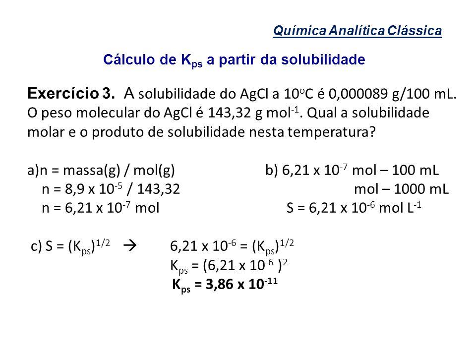 Cálculo de Kps a partir da solubilidade