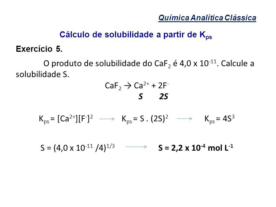 Cálculo de solubilidade a partir de Kps