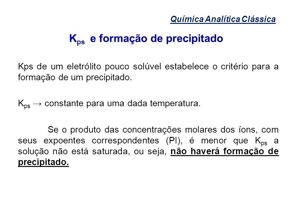 Kps e formação de precipitado