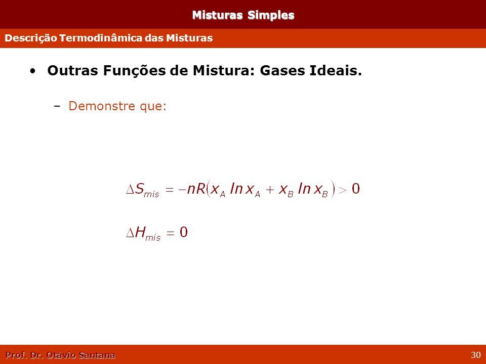 Outras Funções de Mistura: Gases Ideais.
