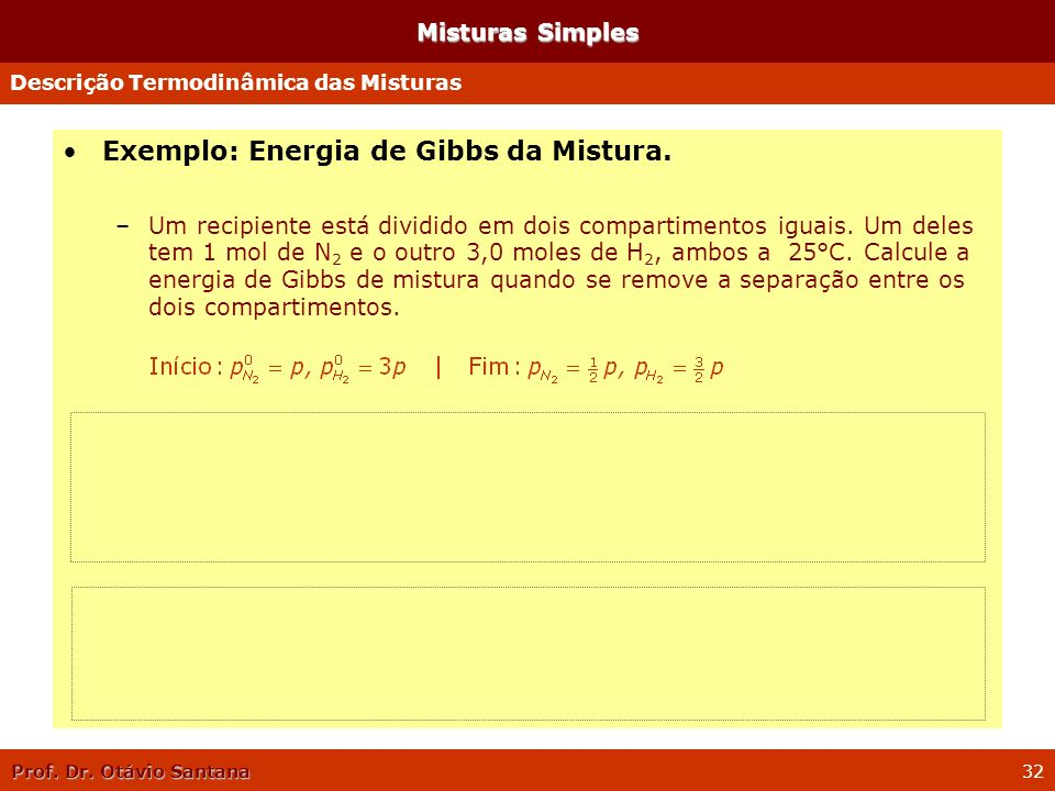 Exemplo: Energia de Gibbs da Mistura.