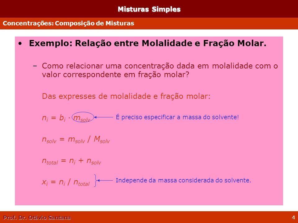 Exemplo: Relação entre Molalidade e Fração Molar.