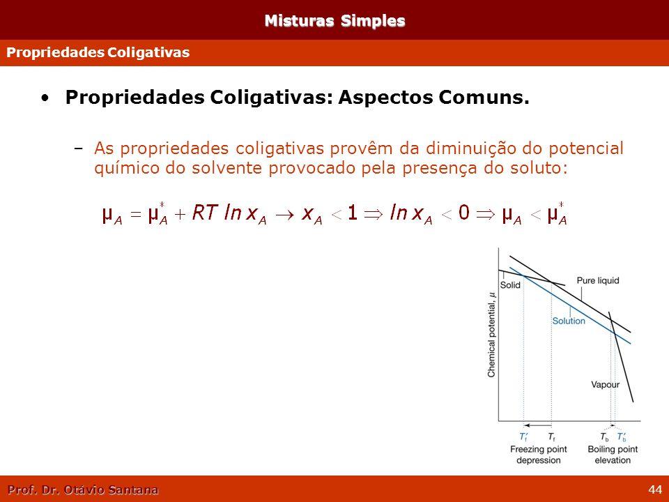 Propriedades Coligativas: Aspectos Comuns.