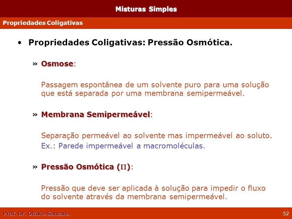 Propriedades Coligativas: Pressão Osmótica.