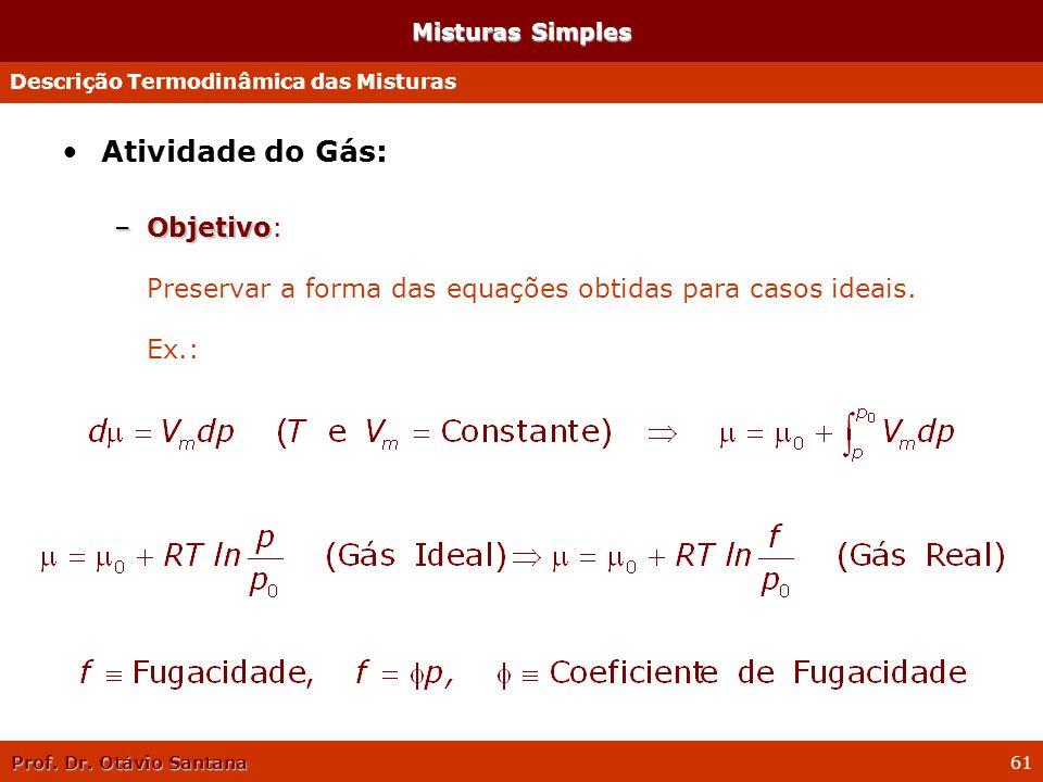 Misturas Simples Descrição Termodinâmica das Misturas. Atividade do Gás:
