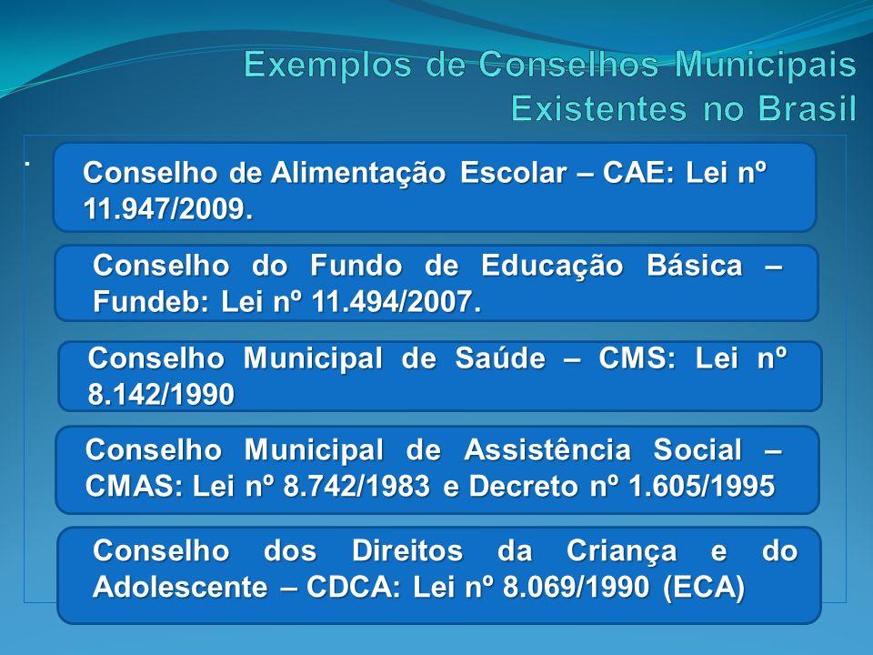 Exemplos de Conselhos Municipais Existentes no Brasil