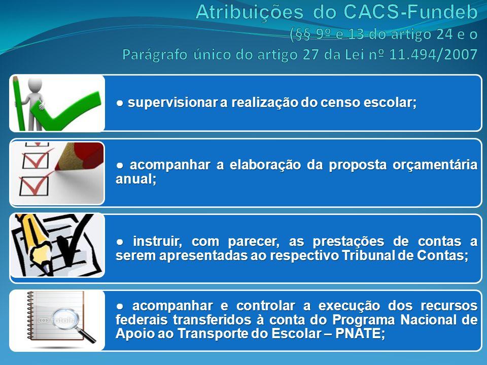Atribuições do CACS-Fundeb (§§ 9º e 13 do artigo 24 e o Parágrafo único do artigo 27 da Lei nº 11.494/2007
