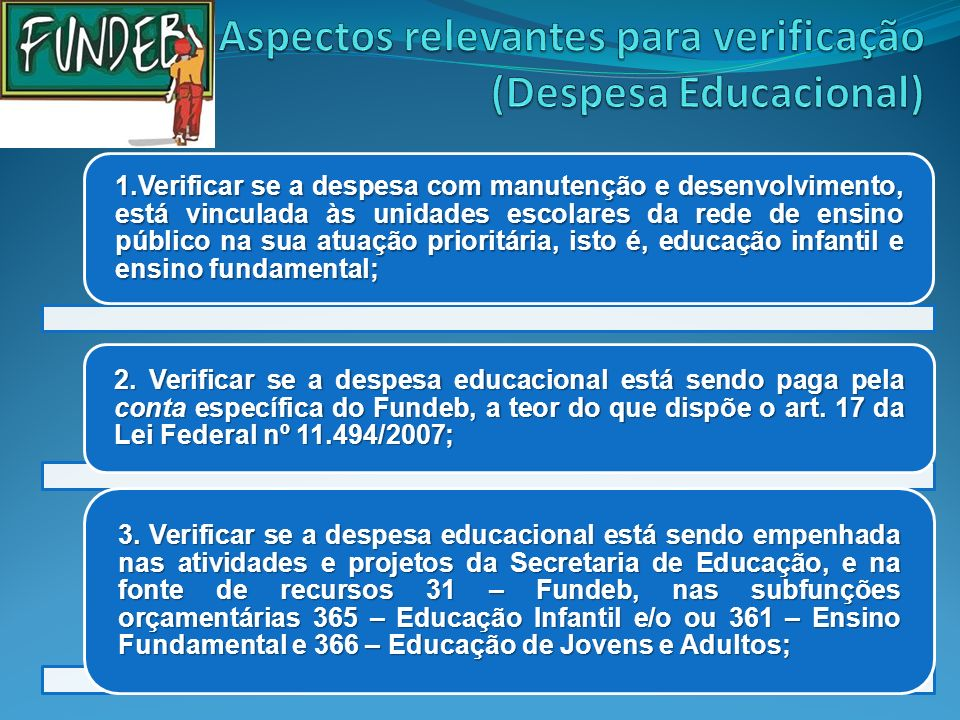 Aspectos relevantes para verificação (Despesa Educacional)