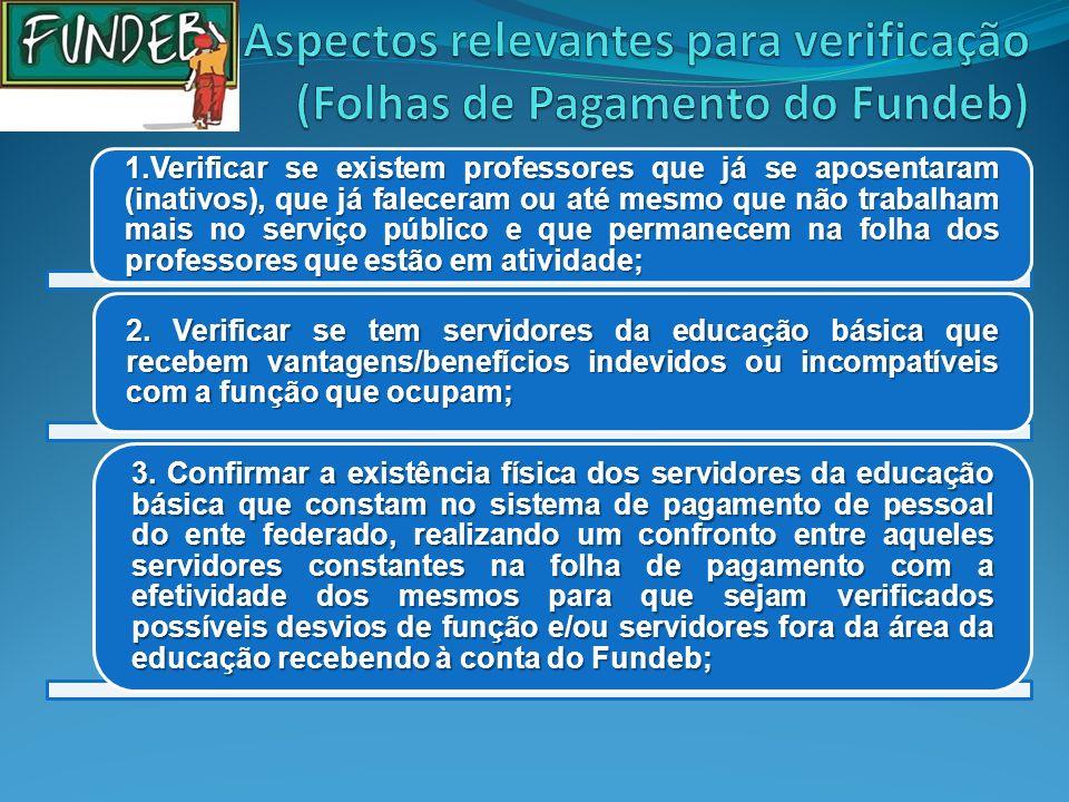 Aspectos relevantes para verificação (Folhas de Pagamento do Fundeb)