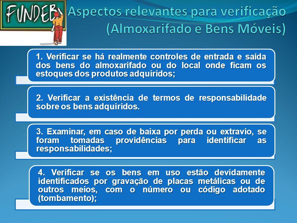 Aspectos relevantes para verificação (Almoxarifado e Bens Móveis)