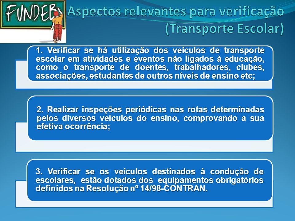 Aspectos relevantes para verificação (Transporte Escolar)