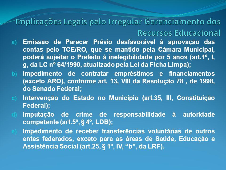 Implicações Legais pelo Irregular Gerenciamento dos Recursos Educacional