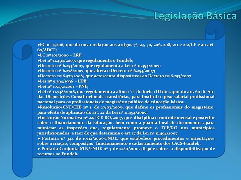 Legislação Básica ●EC n° 53/06, que da nova redação aos artigos 7º, 23, 30, 206, 208, 211 e 212/CF e ao art. 60/ADCT;