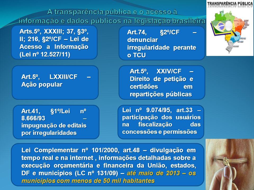 A transparência pública e o acesso à informação e dados públicos na legislação brasileira