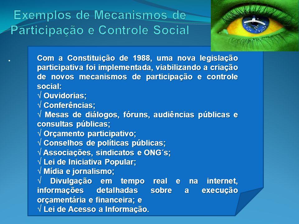 Exemplos de Mecanismos de Participação e Controle Social