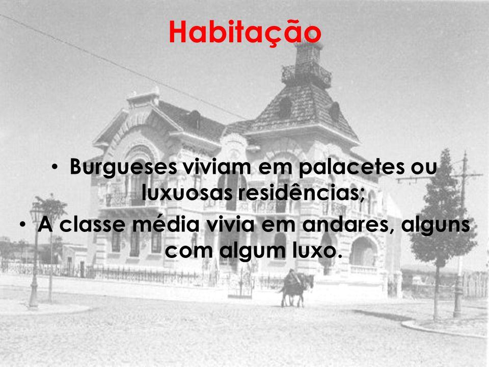 Habitação Burgueses viviam em palacetes ou luxuosas residências;