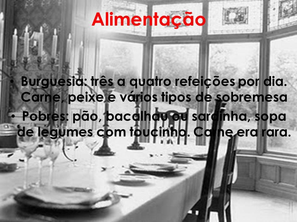 Alimentação Burguesia: três a quatro refeições por dia. Carne, peixe e vários tipos de sobremesa.