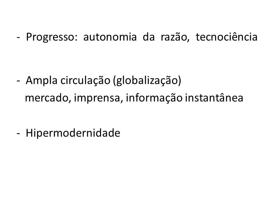 - Progresso: autonomia da razão, tecnociência