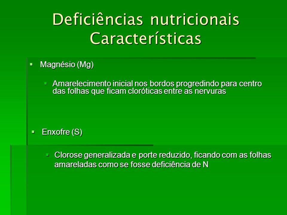 Deficiências nutricionais Características