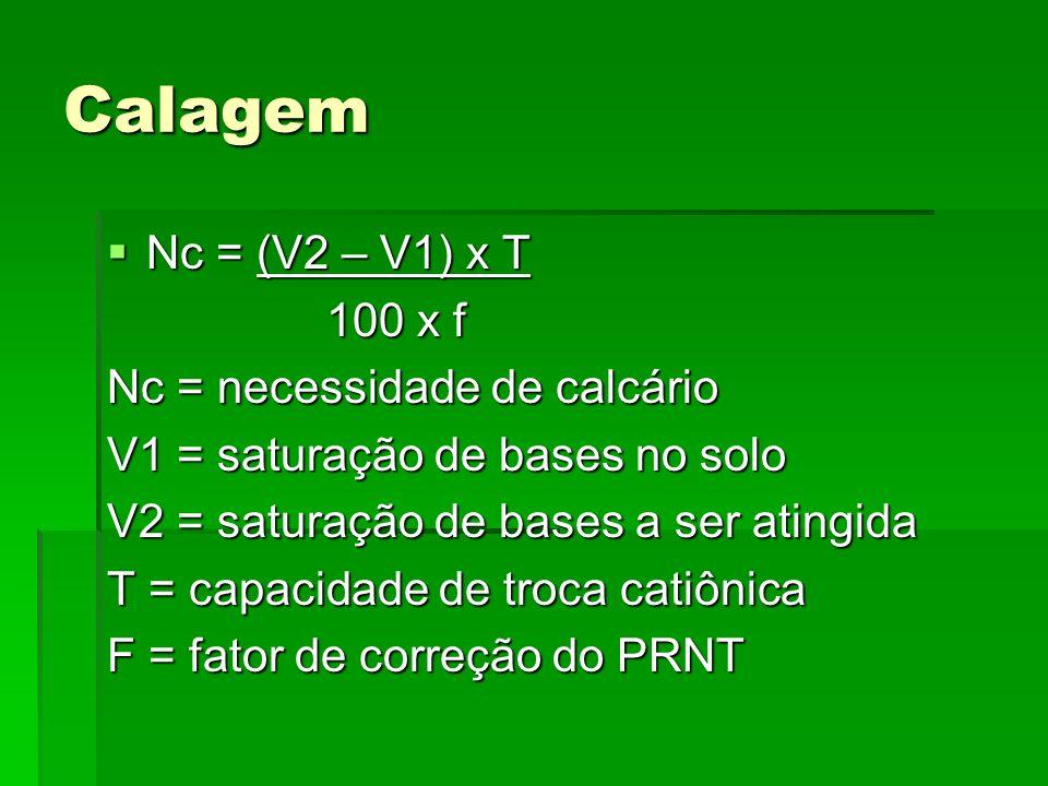 Calagem Nc = (V2 – V1) x T 100 x f Nc = necessidade de calcário