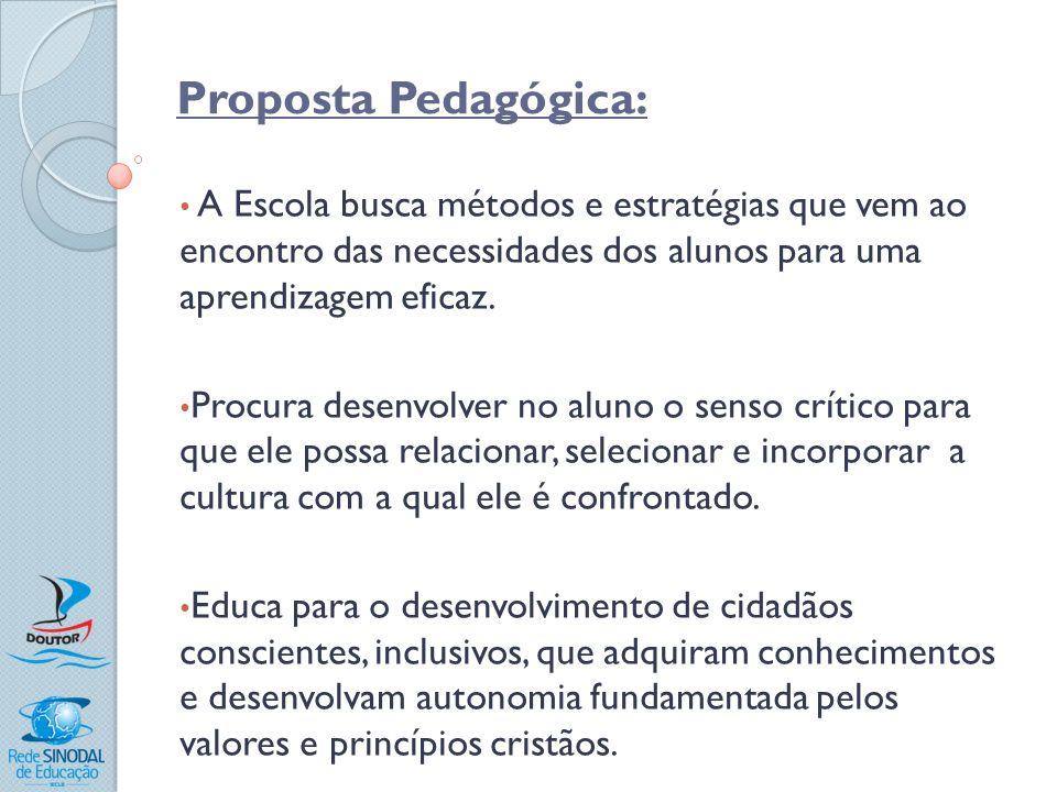 Proposta Pedagógica: A Escola busca métodos e estratégias que vem ao encontro das necessidades dos alunos para uma aprendizagem eficaz.