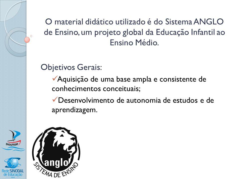 O material didático utilizado é do Sistema ANGLO de Ensino, um projeto global da Educação Infantil ao Ensino Médio.