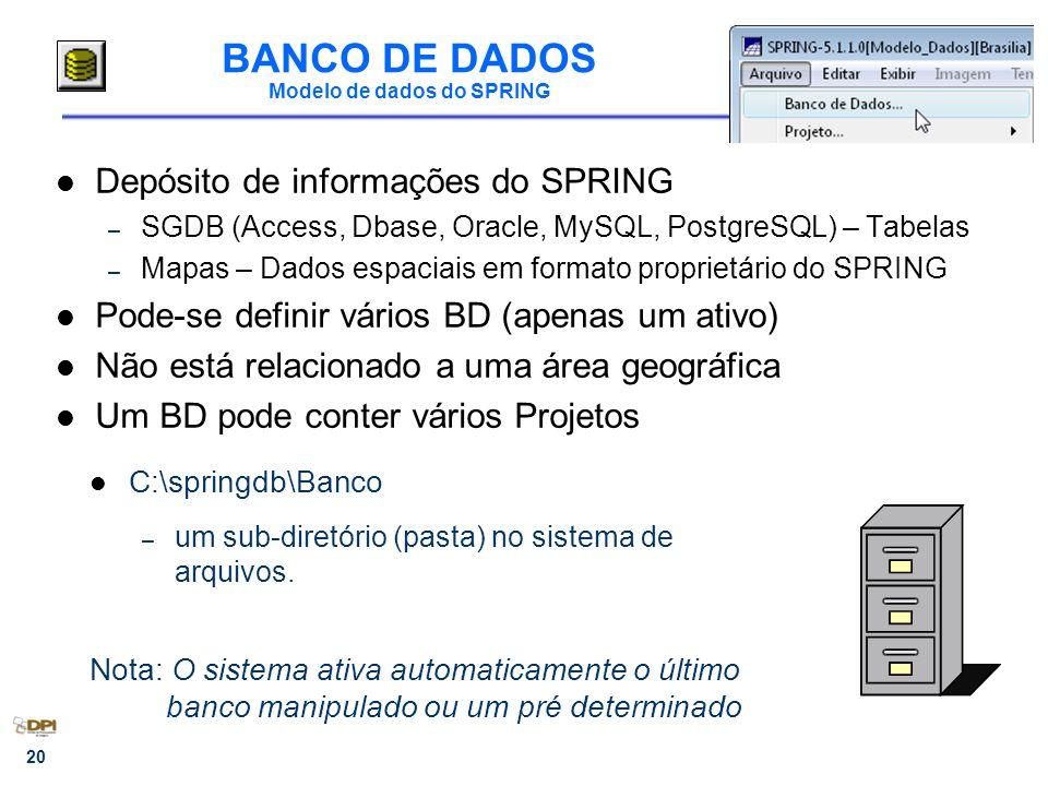 BANCO DE DADOS Modelo de dados do SPRING