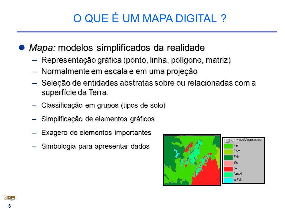 O QUE É UM MAPA DIGITAL Mapa: modelos simplificados da realidade