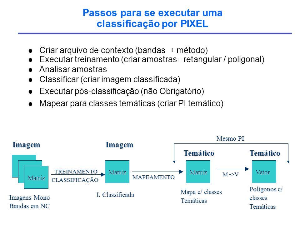 Passos para se executar uma classificação por PIXEL