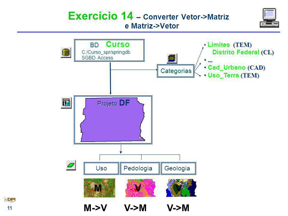 Exercício 14 – Converter Vetor->Matriz e Matriz->Vetor