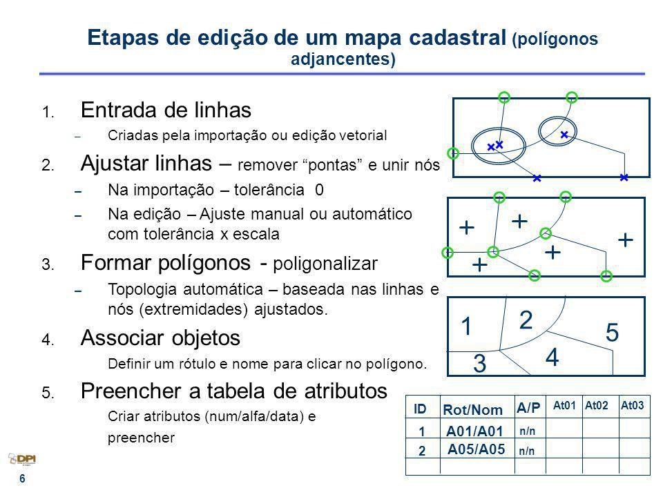 Etapas de edição de um mapa cadastral (polígonos adjancentes)