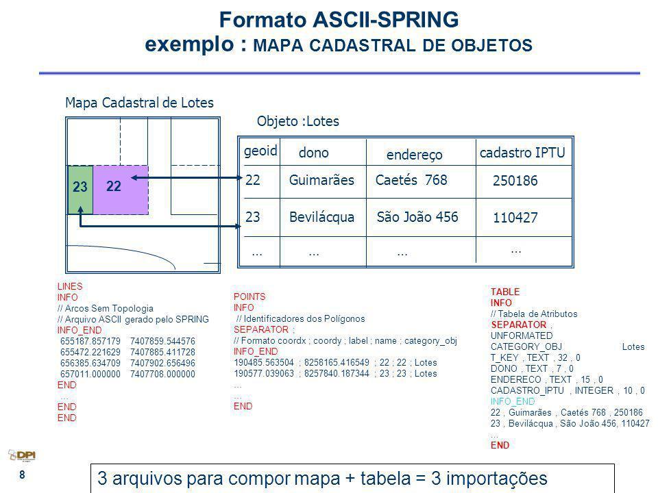 Formato ASCII-SPRING exemplo : MAPA CADASTRAL DE OBJETOS