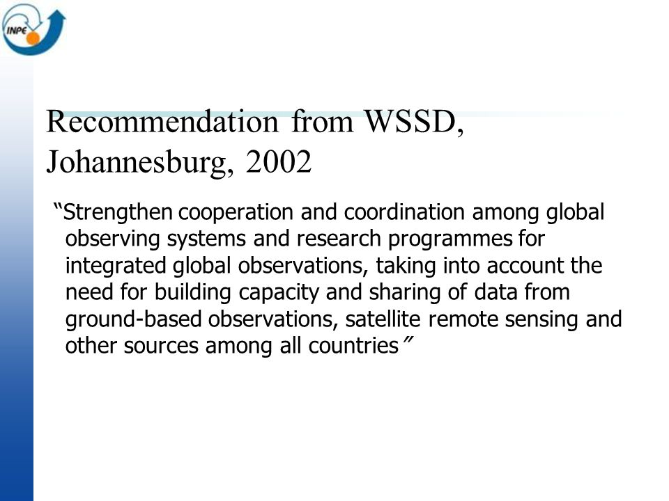 Recommendation from WSSD, Johannesburg, 2002