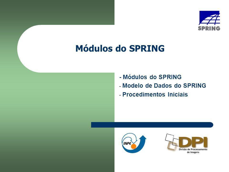 - Módulos do SPRING Modelo de Dados do SPRING Procedimentos Iniciais
