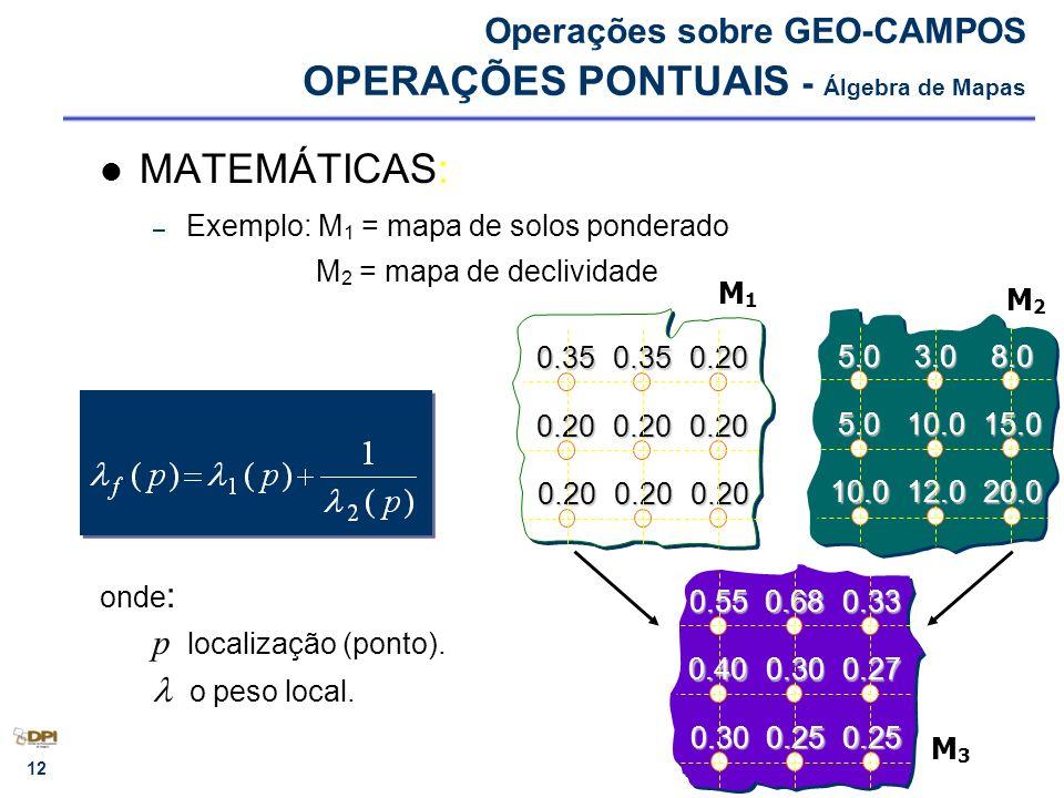 Operações sobre GEO-CAMPOS OPERAÇÕES PONTUAIS - Álgebra de Mapas