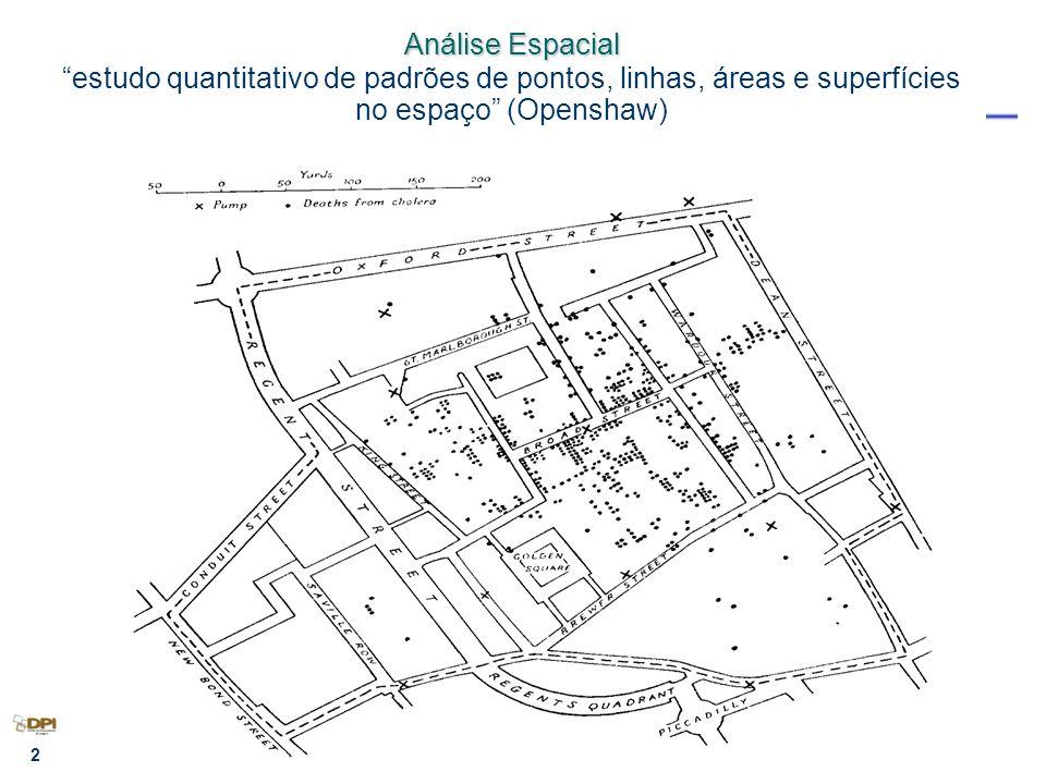 Análise Espacial estudo quantitativo de padrões de pontos, linhas, áreas e superfícies no espaço (Openshaw)