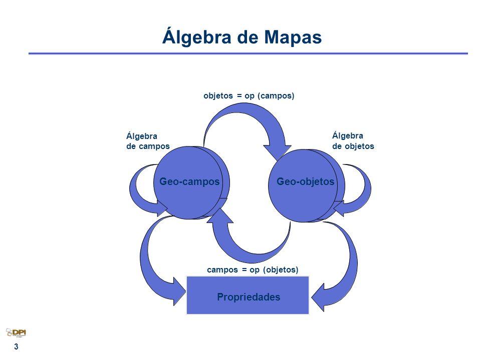Álgebra de Mapas Geo-campos Geo-objetos Propriedades Álgebra de campos