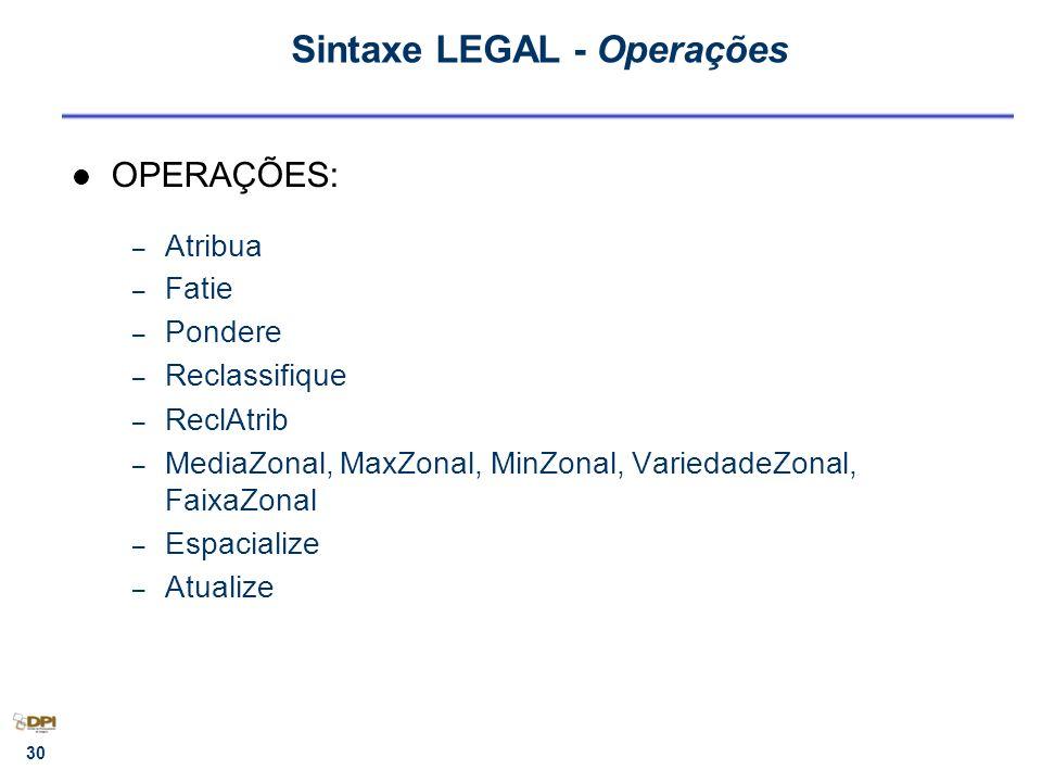 Sintaxe LEGAL - Operações