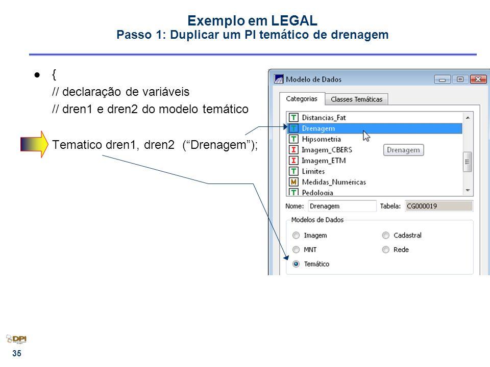 Exemplo em LEGAL Passo 1: Duplicar um PI temático de drenagem