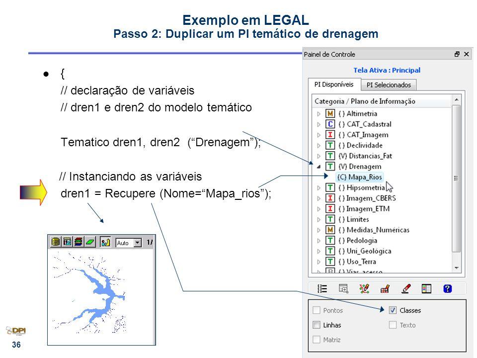 Exemplo em LEGAL Passo 2: Duplicar um PI temático de drenagem