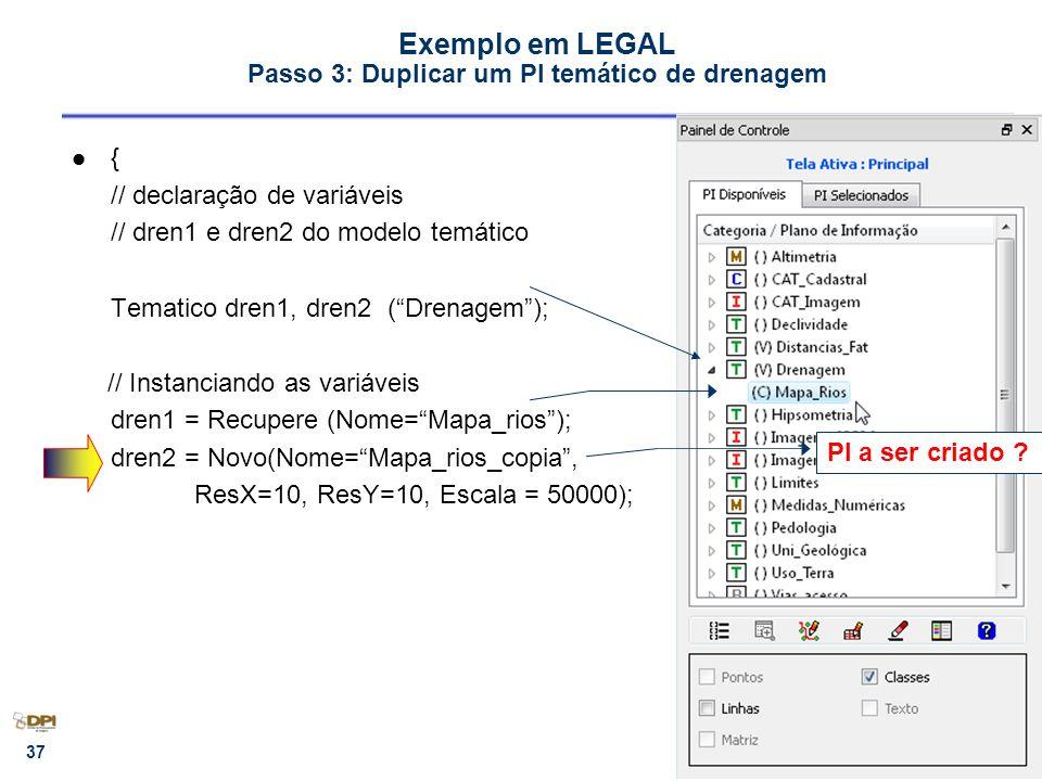 Exemplo em LEGAL Passo 3: Duplicar um PI temático de drenagem