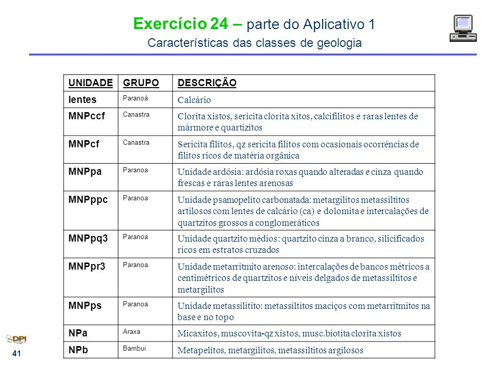 Exercício 24 – parte do Aplicativo 1 Características das classes de geologia