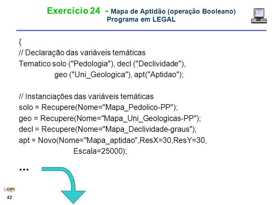 Exercício 24 - Mapa de Aptidão (operação Booleano) Programa em LEGAL
