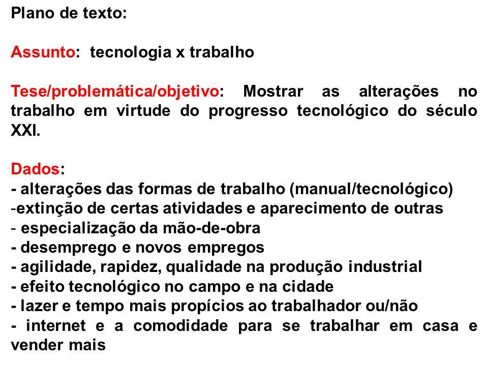Plano de texto: Assunto: tecnologia x trabalho.