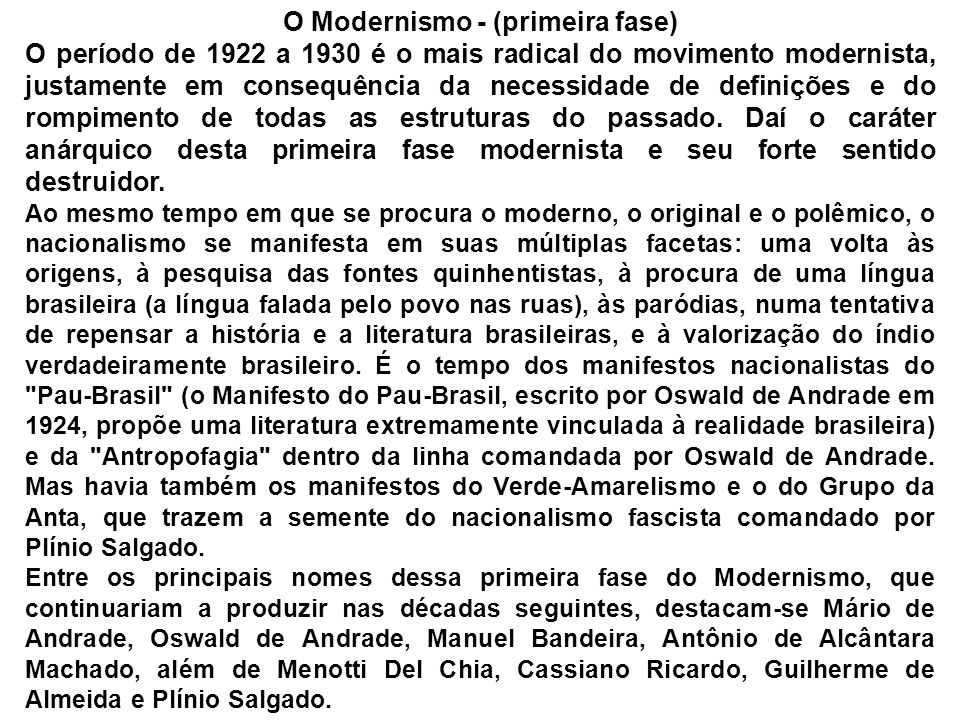 O Modernismo - (primeira fase)