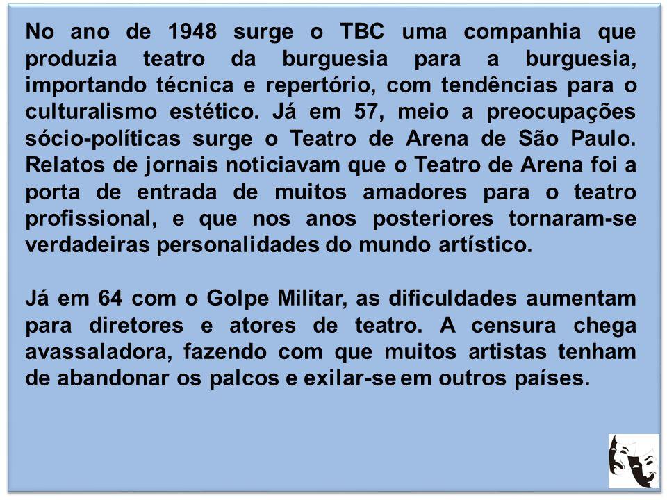 No ano de 1948 surge o TBC uma companhia que produzia teatro da burguesia para a burguesia, importando técnica e repertório, com tendências para o culturalismo estético. Já em 57, meio a preocupações sócio-políticas surge o Teatro de Arena de São Paulo. Relatos de jornais noticiavam que o Teatro de Arena foi a porta de entrada de muitos amadores para o teatro profissional, e que nos anos posteriores tornaram-se verdadeiras personalidades do mundo artístico.