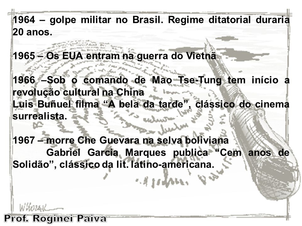 1964 – golpe militar no Brasil. Regime ditatorial duraria 20 anos.