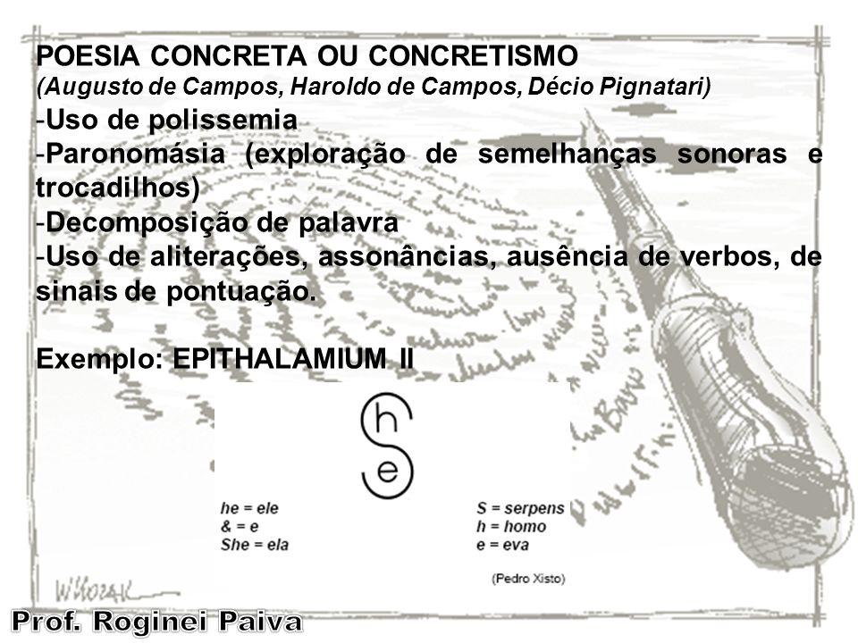 POESIA CONCRETA OU CONCRETISMO Uso de polissemia