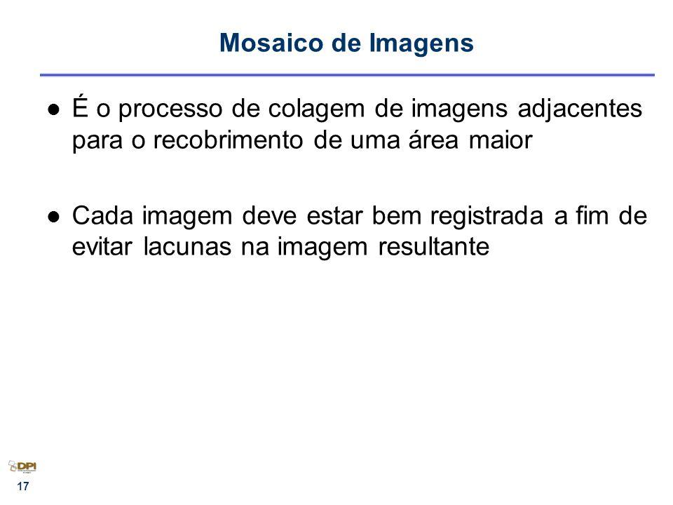 Mosaico de Imagens É o processo de colagem de imagens adjacentes para o recobrimento de uma área maior.